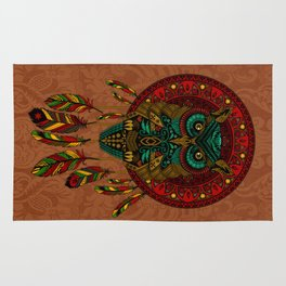 Colorful Dreamcatcher Owl Aztec Pattern Rug