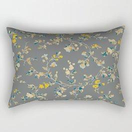 vintage floral vines - greys & mustard Rectangular Pillow