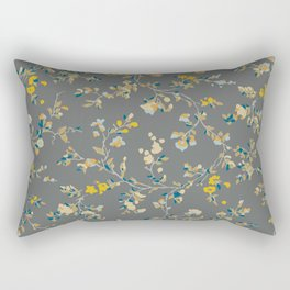 vintage floral vines - greys & mustard Rectangular Pillow