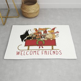Downhill dogs sledding dogs in sleigh holiday artwork  Rug