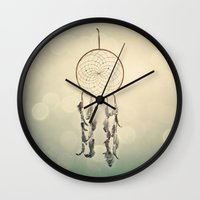 dreamcatcher Wall Clocks featuring Dreamcatcher  by Laura Ruth