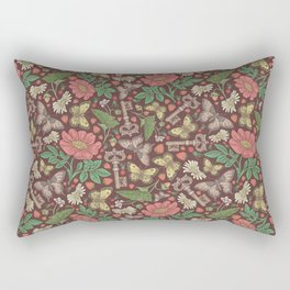 Yellow and brown butterflies with keys and flowers on brown background Rectangular Pillow