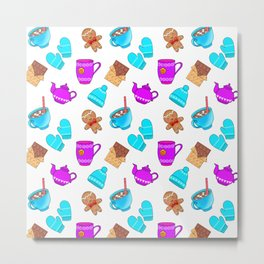 Lovely gingerbread men cookies, chocolate, hot cocoa with marshmallows, cozy homey winter pattern Metal Print