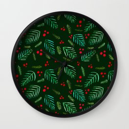 Christmas tree branches and berries - green Wall Clock