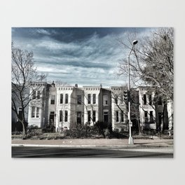 Houses in Blue Canvas Print