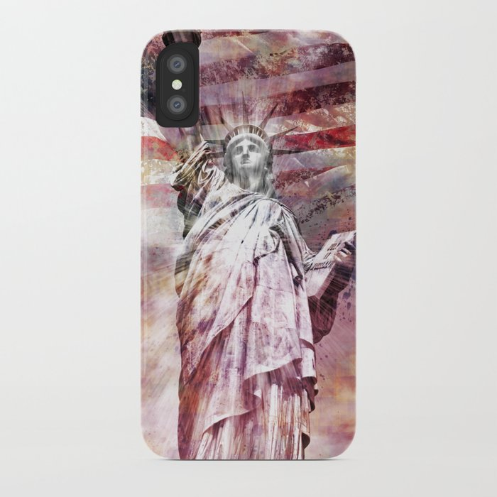 Modern-Art STATUE OF LIBERTY red iPhone Case
