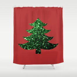 Sparkly Christmas tree green sparkles on red Shower Curtain