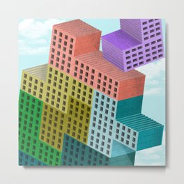 Tetris was always bricks in the clouds Metal Print