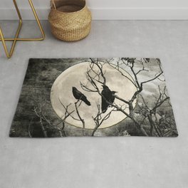 Black White Crows Birds Tree Moon Landscape Home Decor Matted Picture Print A268 Rug