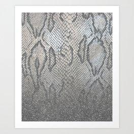 Shimmer (Silver Snake Glitter Abstract) Art Print