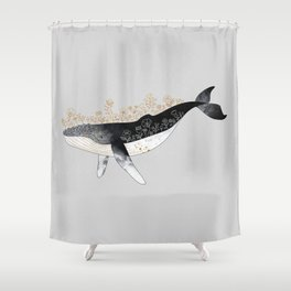 Floral Whale Shower Curtain