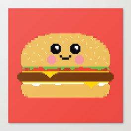 Happy Pixel Hamburger Canvas Print