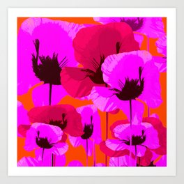 Pink And Red Poppies On A Orange Background - Summer Juicy Color Palette - Retro Mood Art Print