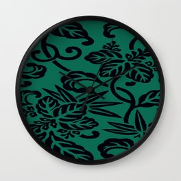 Green Black Japanese Floral LeafPattern Wall Clock