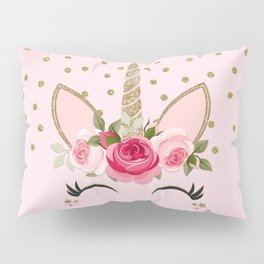 Pink & Gold Cute Floral Unicorn Pillow Sham