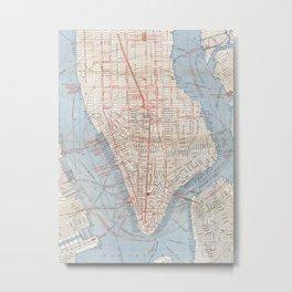 Vintage Map of Lower Manhattan (1879) Metal Print