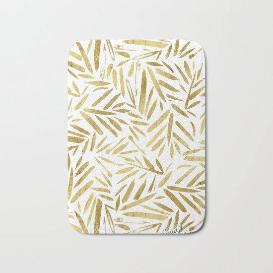 Glam Gold Leaves Bath Mat