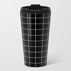 Black White Grid Metal Travel Mug