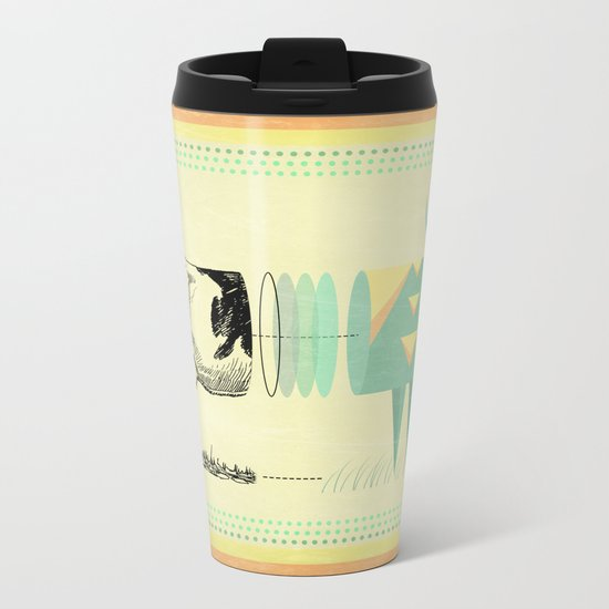 the black and white cow who wanted to be colorfully geometric  Metal Travel Mug