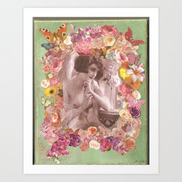 Vintage topless woman with flowers and butterflies Art Print