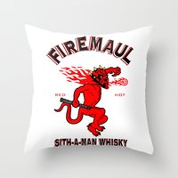 whisky Throw Pillows featuring Firemaul Whisky by Ant Atomic