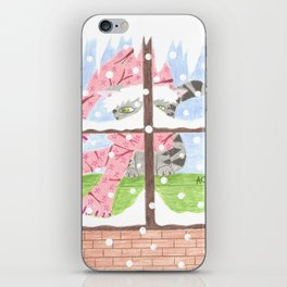 Christmas Tabby cat looking out the window iPhone Skin