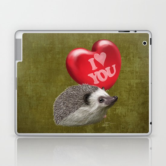 Hedgehog in love with a red balloon Laptop & iPad Skin