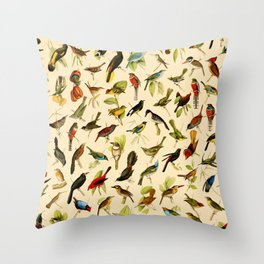 Vintage Birds of Brazil Designs Collection Throw Pillow