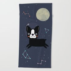 Boston Terrier In Space Beach Towel