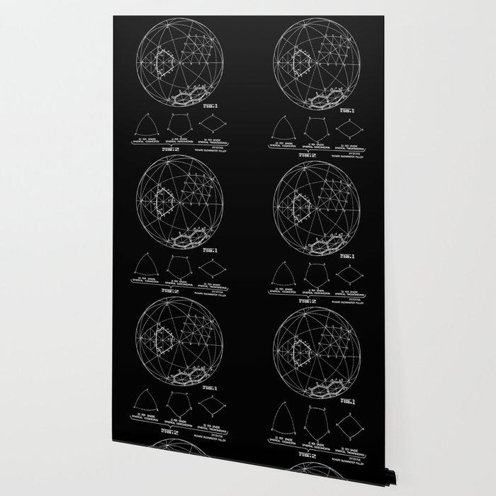 Buckminster Fuller 1961 Geodesic Structures Patent - White on Black Wallpaper