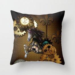 Steampunk, awesome steampunk horse Throw Pillow