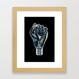 Protest fist light bulb / 3D render of glass light bulb in the form of clenched fist Framed Art Print