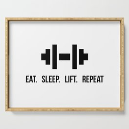 Eat Sleep Lift Repeat - Dumbell with bodybuilder slogan Serving Tray