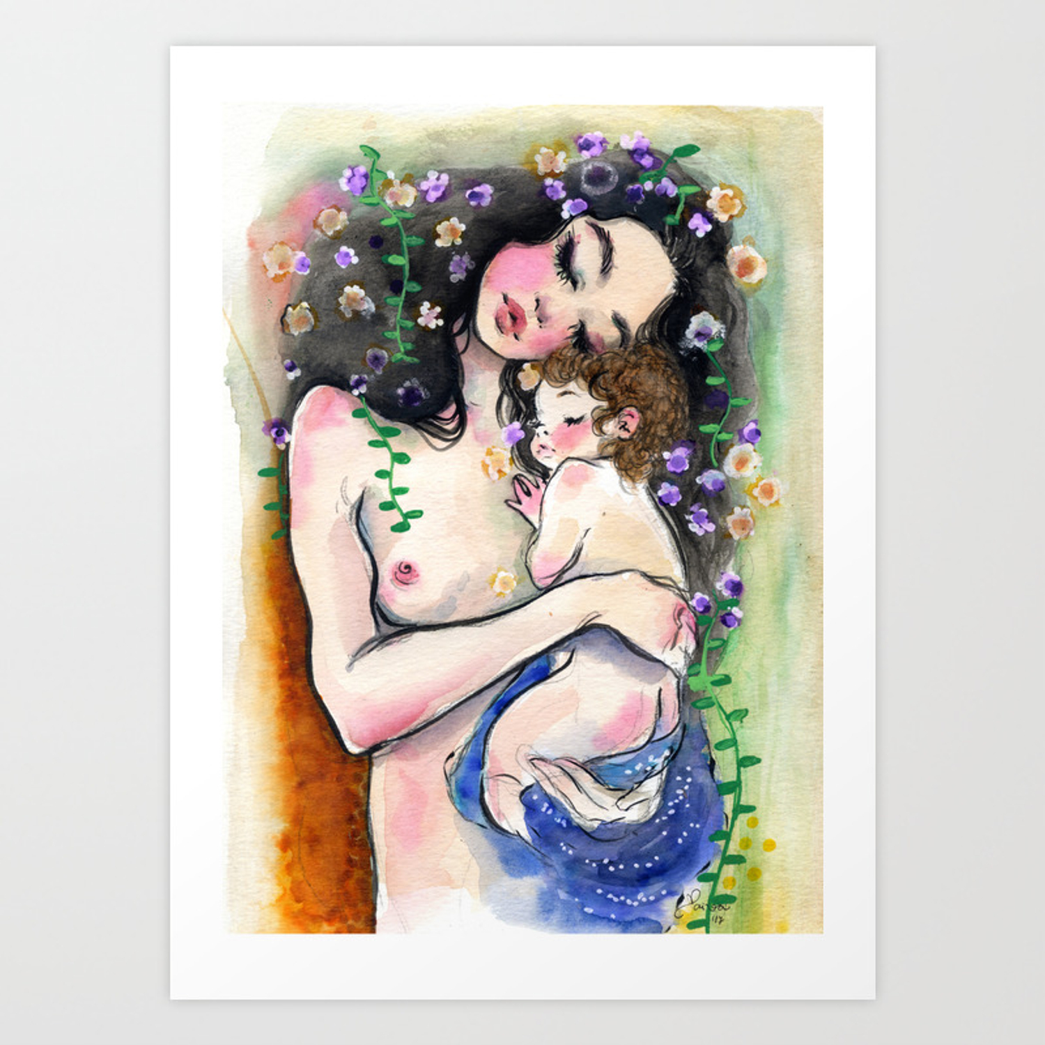 Klimt Mother And Child 1 Art Print By Clarissapaiva Society6