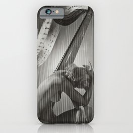 The Golden Harp, Blond female form black and white nude photograph / photography iPhone Case