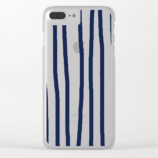 Simply Drawn Vertical Stripes Nautical Navy Blue on White Clear iPhone Case