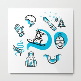 Snowboarding freestyle collection hand drawn set Metal Print