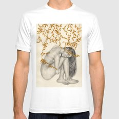 The Fragility Of Being Human MEDIUM White Mens Fitted Tee