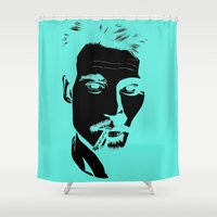 johnny depp Shower Curtains featuring Jhonny Depp by Caterina Zamai
