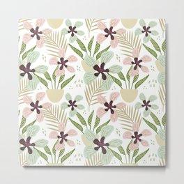 Modern Hygge Flower Meadow Pattern Metal Print