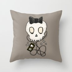 Girly Skull with Black Bow / Die for Music Throw Pillow