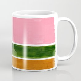 Colorful Minimalist Mid Century Modern Shapes Pink Olive Green Yellow Ochre Rothko Minimalist Square Coffee Mug