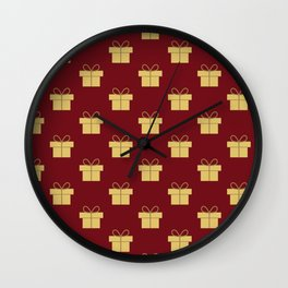 Christmas gifts - red and gold Wall Clock