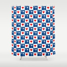 flag of south carolina with hearts Shower Curtain