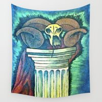 ram Wall Tapestries featuring Ram Skull by Carley Lynch
