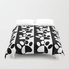 Black And White Dog Paws And Stripes Duvet Cover