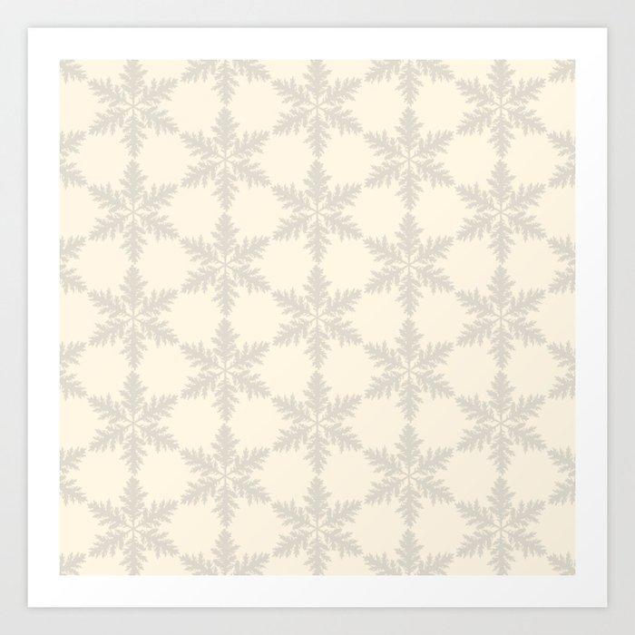 Snowflake foliage cream beige Kunstdrucke