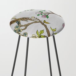 Chinoiserie Panels 4-5 Silver Gray Raw Silk - Casart Scenoiserie Collection Counter Stool