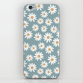 Daisies - daisy floral repeat, daisy flowers, 70s, retro, black, daisy florals dusty blue iPhone Skin