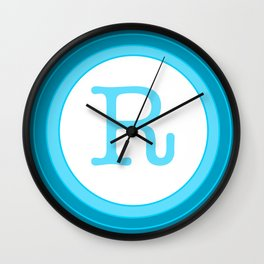 Blue letter R Wall Clock